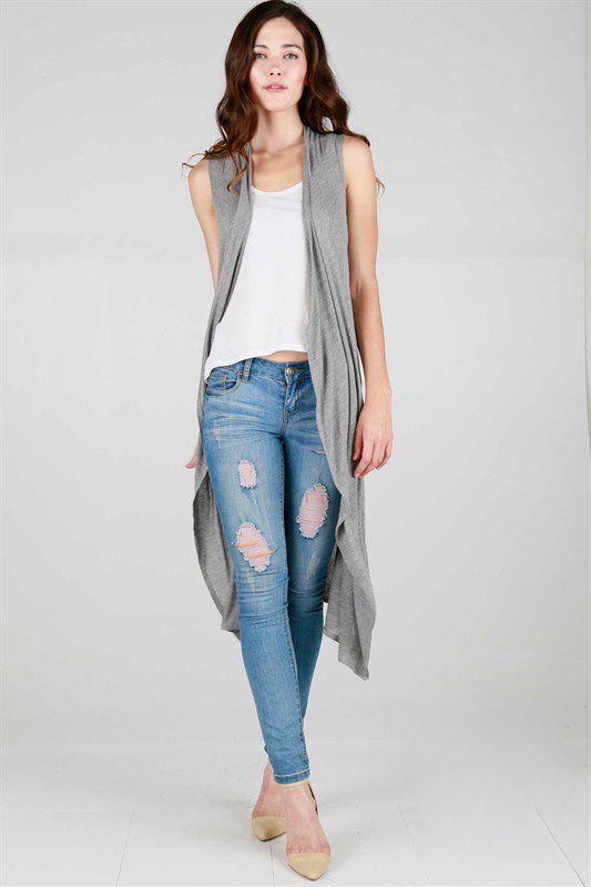 long sleeveless cardigan ripped jeans heels