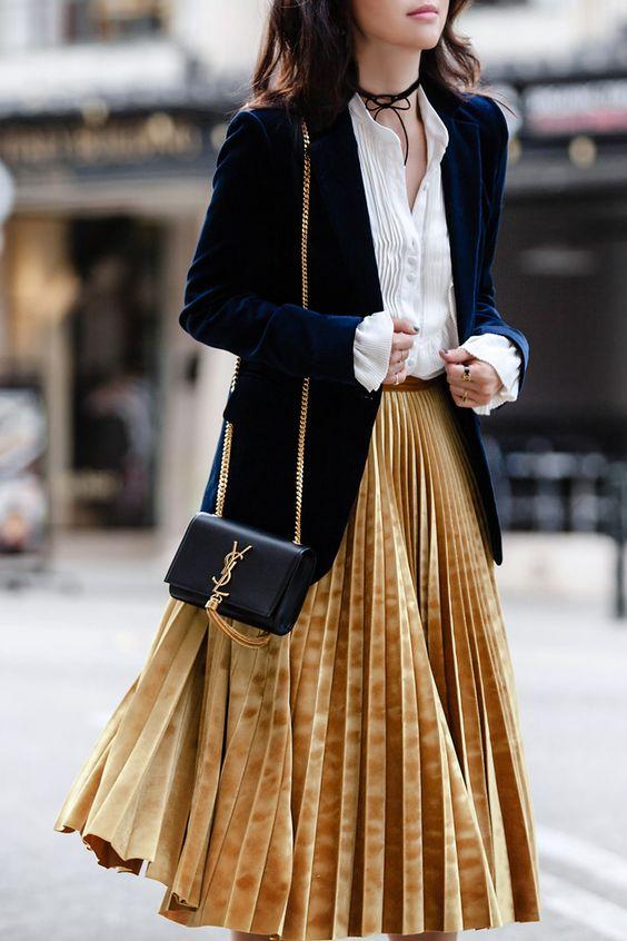 gold skirt blazer