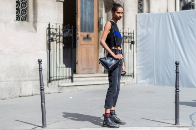 black leather ankle boots sleeveless cropped t-shirt