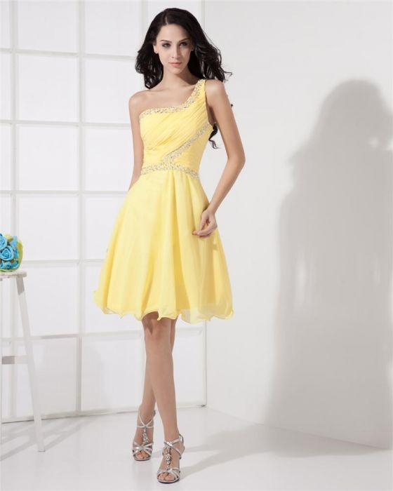 a shoulder-yellow cocktail dress