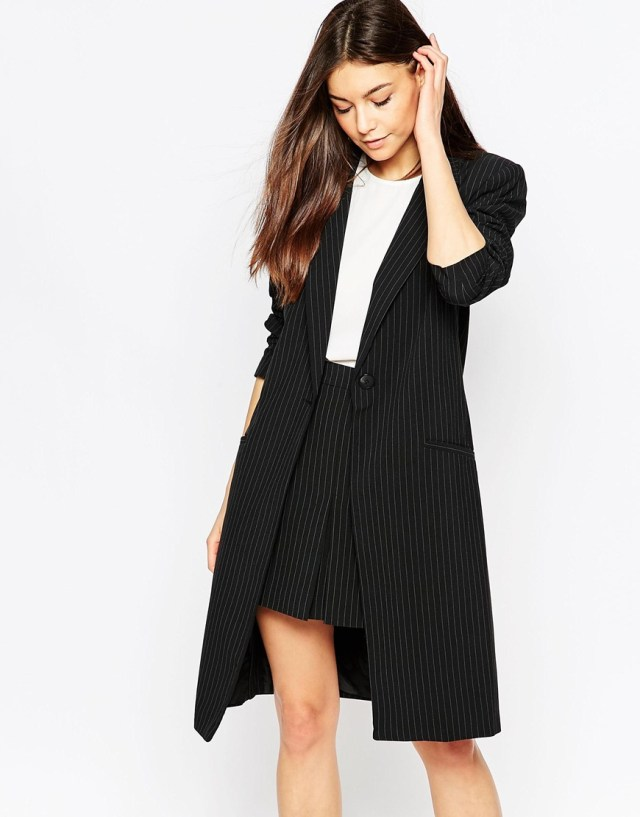 black long line blazer with skirt work
