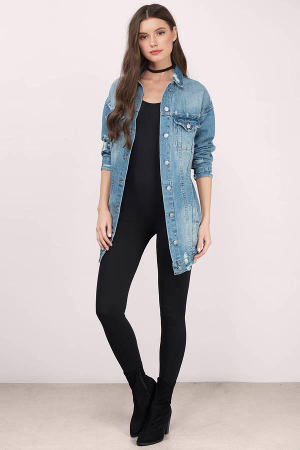 longline denim jacket black top skinny jeans