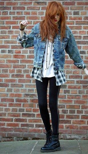 flannel plaid denim jacket combat shoes