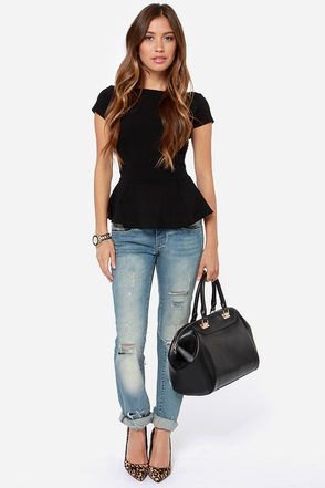 black peplum top cuffed jeans outfit