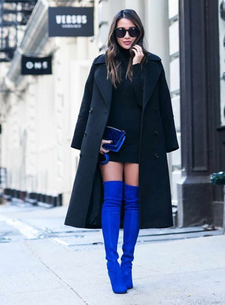 black wool long jacket with mini shift dress and blue thigh high boots