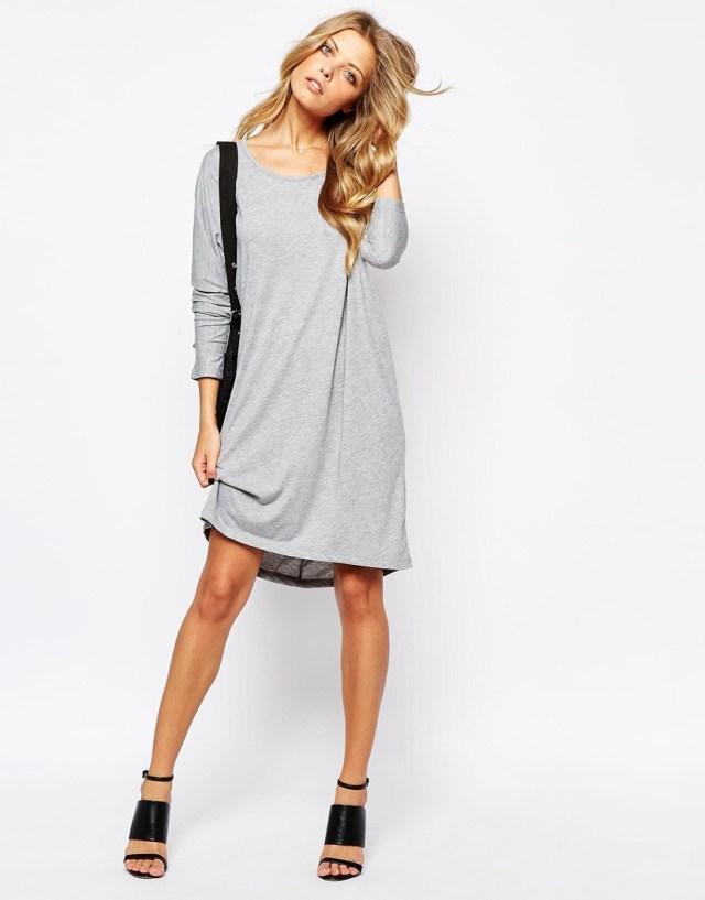 heather gray long sleeve t-shirt dress