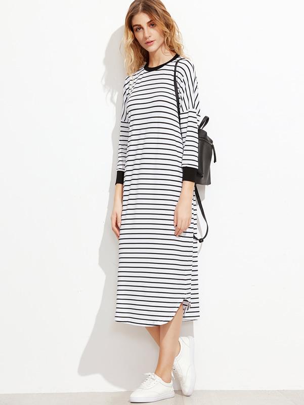 long-sleeved t-shirt-dress-striped-drop shaft