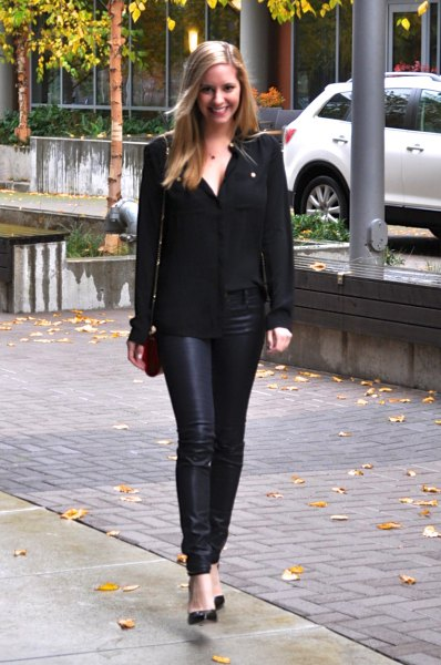 black chiffon shirt with covered jeans