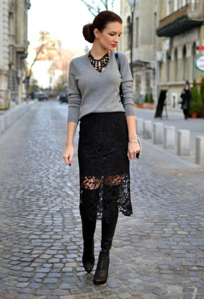 black midi lace skirt gray sweater