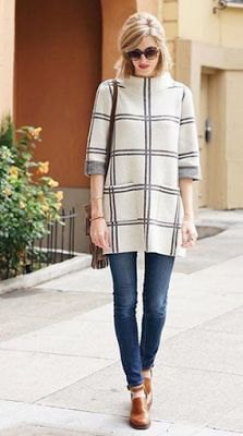 white and gray plaid sweater with suede