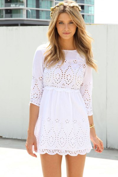 white three-quarter sleeved crocheted mini beach dress