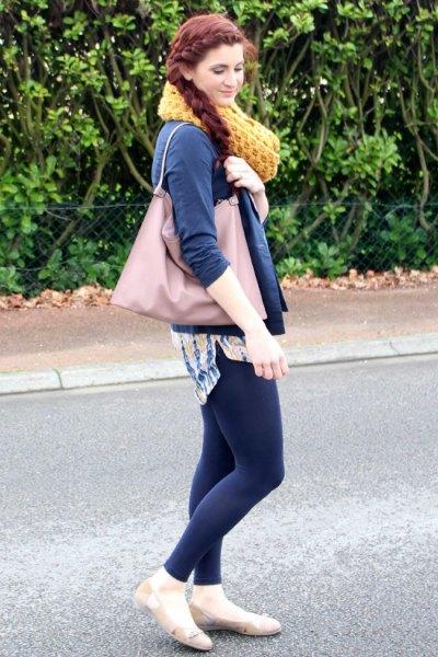light pink ballet flats denim shirt navy blue leggings