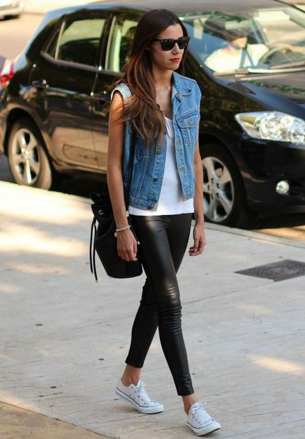 long tee denim vest leather leggings