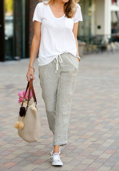 gray linen trousers white u-neck t-shirt outfit