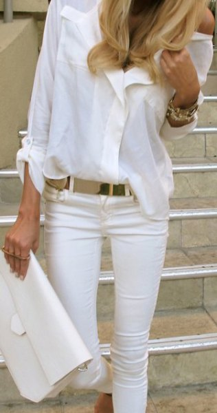 white button up shirt jeans purse