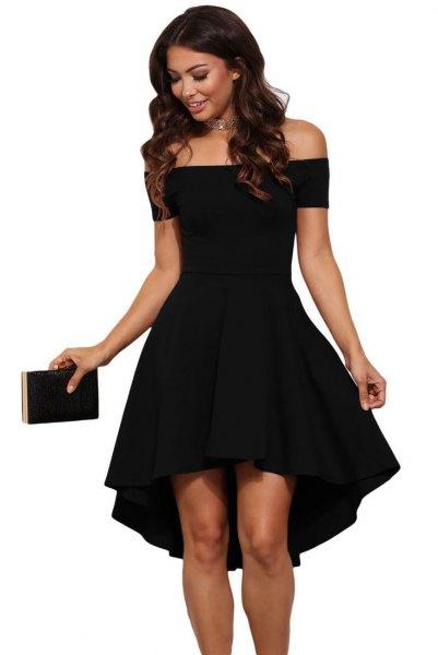 of the shoulder black cocktail dress