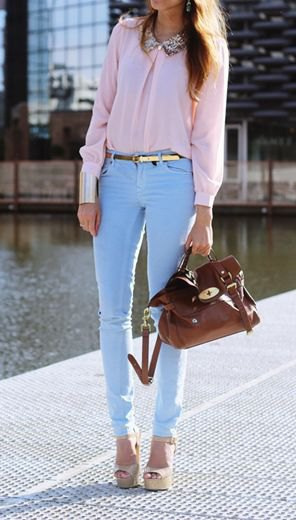 blush pink pink with light blue skinny pants