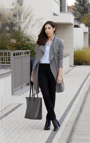 corduroy pants blue shirt gray trench coat