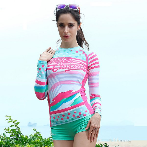 yellow and white printed waterproof long-sleeved T-shirt with blushing swim shorts