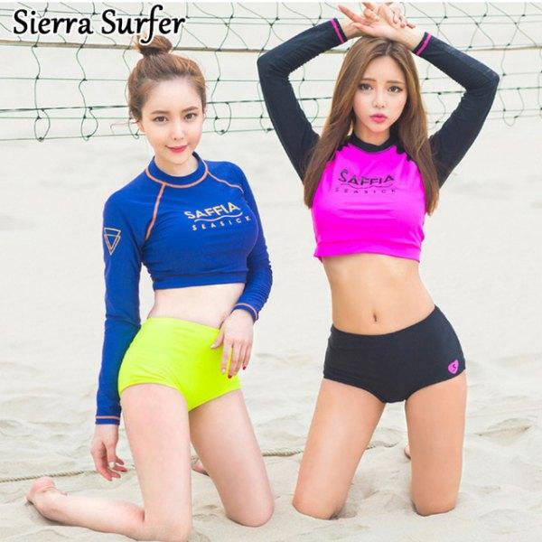 Royal blue, long-sleeved, short surf t-shirt with yellow swim shorts