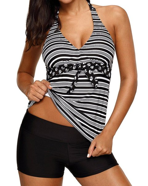 striped waterproof halter top with black swim shorts