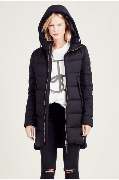 black hooded down jacket and white graphic sweatshirt