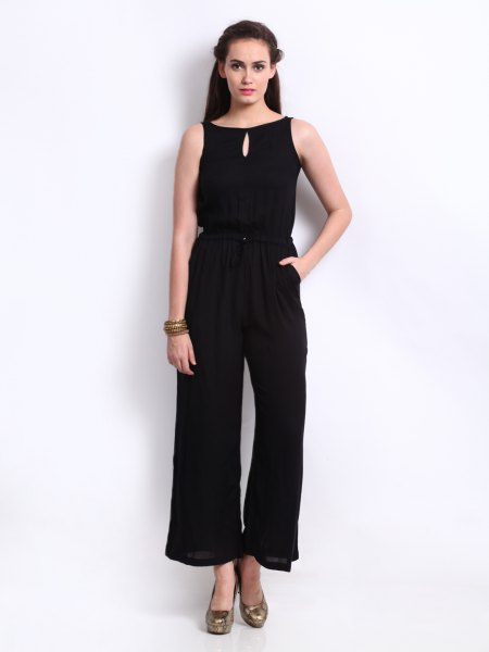 black sleeveless keyhole fit and flat jumpsuit