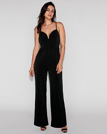 formal jumpsuit with black spaghetti strap and heart-shaped neckline and open toe heels