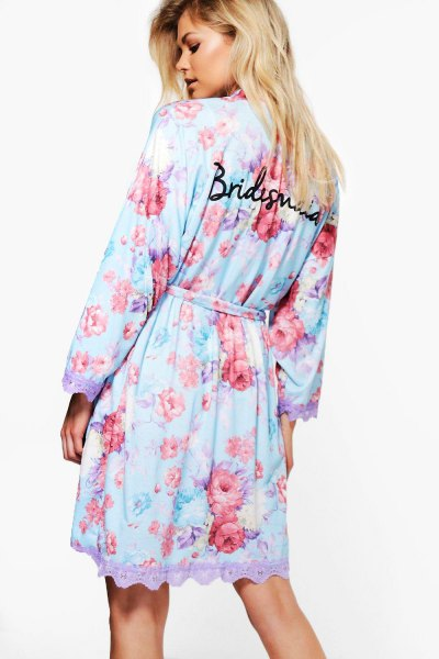 sky blue floral robe with scalloped hem