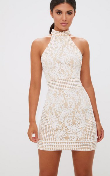 white high neck fit and flare mini lace dress