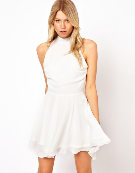 white mock neck fit and flare mini skater dress