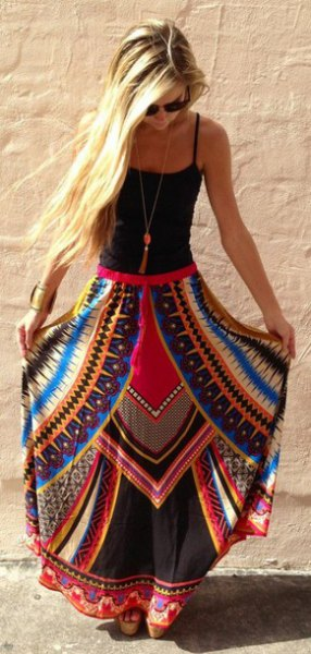 black tank top with scoop neck and blue and red printed maxi gypsy skirt