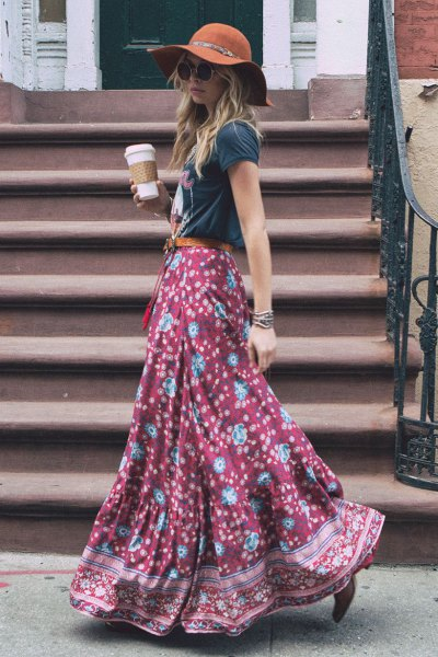 gray t-shirt with floor-length, flowing printed skirt