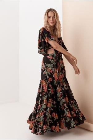 black two-piece gypsy dress with open toe heels