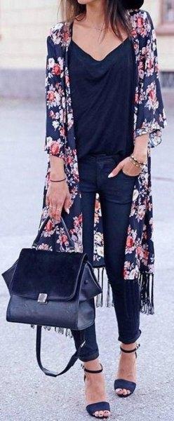 Dark blue maxi chiffon cardigan with black chiffon blouse with V-neck