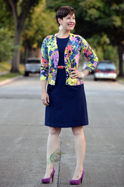 blue, yellow and pink printed cardigan with dark blue fit and flared dress
