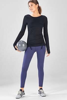 black slim fit long sleeve t-shirt with dark blue training pants
