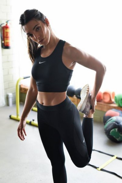 black crop top with high-waisted Nike leggings