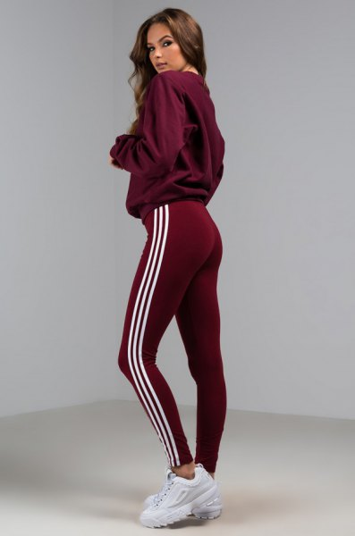 gray hoodie with burgundy adidas tights