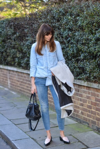 Light blue chambray shirt with short skinny jeans and black and white loafers