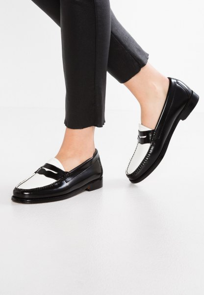 black, slim fit jeans and white loafers