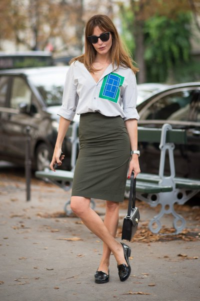 white shirt with buttons, gray midi jeans skirt and black loafers