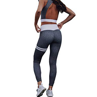 gray sports top with cut out back and matching running pants