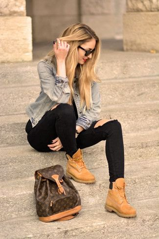 blue denim jacket with black jeans and light brown leather shoes