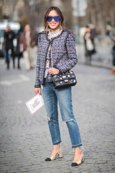 gray tweed blazer with torn jeans and pink heels
