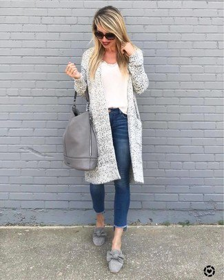 Longline cardigan with a white t-shirt and detailed gray evening shoes