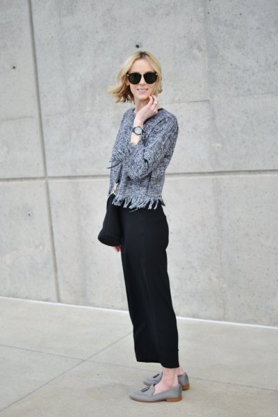 gray cardigan with black wide-leg trousers and suede loafers