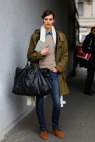 brown longline blazer with gray sweater