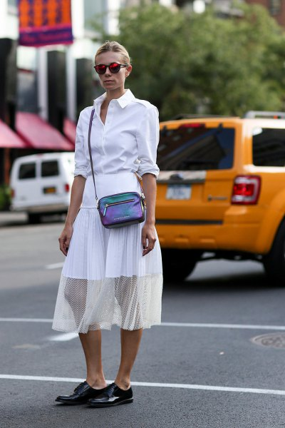 white shirt with buttons, semi-transparent midi chiffon skirt and black leather derby shoes