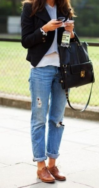 black blazer with gray sweater and boyfriend jeans